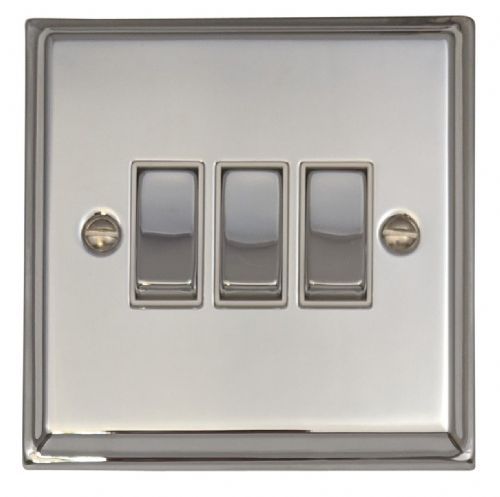G&H DC203 Deco Plate Polished Chrome 3 Gang 1 or 2 Way Rocker Light Switch